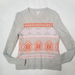 J Crew Womens Geometric Fair Isle Wool Sweater M